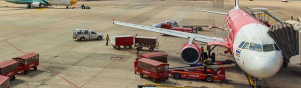 Airport ground staff handling air cargo operations